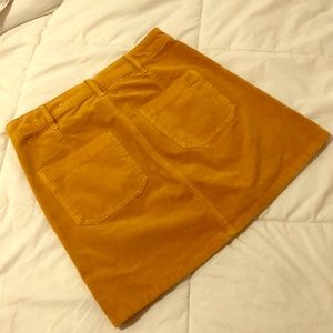 AE High waisted A line corduroy skirt in mustard